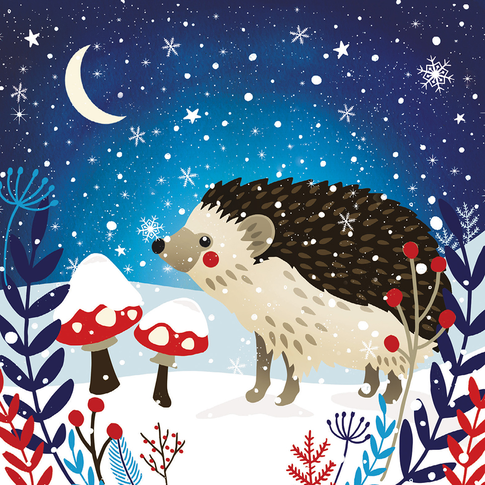 'Moonlit Hedgehog' christmas card